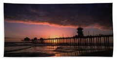 Huntington Pier At Sunset Hand Towel