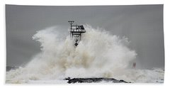 Hurricane Jose Wave At The Inlet Jetty Bath Towel