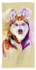 Husky Dog Watercolor Portrait Bath Towel