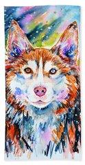 Hand Towel featuring the painting Husky by Zaira Dzhaubaeva