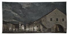 Hvar Town Croatia - Black And White Hand Towel