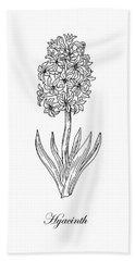 Hyacinth Flower Botanical Drawing Black And White Hand Towel