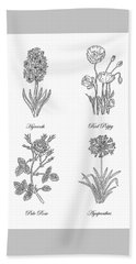 Hyacinth Red Poppy Pale Rose Agapanthus Drawing Hand Towel
