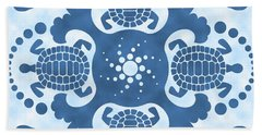 Hybiscus And Turtle Hawaiian Quilt Block Hand Towel