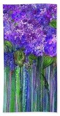 Bath Towel featuring the mixed media Hydrangea Bloomies 1 - Purple by Carol Cavalaris