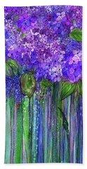 Hand Towel featuring the mixed media Hydrangea Bloomies 2 - Purple by Carol Cavalaris