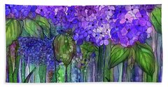 Hand Towel featuring the mixed media Hydrangea Bloomies 3 - Purple by Carol Cavalaris