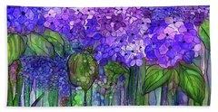 Bath Towel featuring the mixed media Hydrangea Bloomies 4 - Purple by Carol Cavalaris