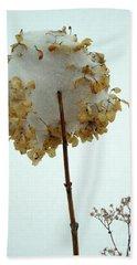 Hydrangea Blossom In Snow Hand Towel