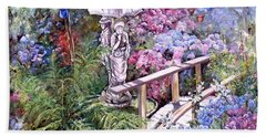 Hand Towel featuring the painting Hydrangea In The Formosa Gardens by Ryn Shell