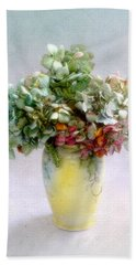 Hydrangeas In Autumn Still Life Hand Towel by Louise Kumpf