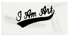 I Am Art Swoosh Black- Art By Linda Woods Bath Towel
