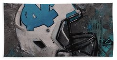 I Bleed Carolina Blue Tarheel Wall Art Football Helment Hand Towel by Gray Artus
