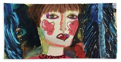 Bath Towel featuring the painting I Carry Your Heart In My Heart by Kim Nelson