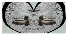 I Choose Love With A Pair Of  Mallard Ducks Framed In A Heart Bath Towel