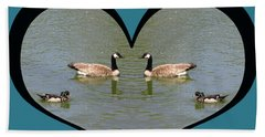 I Choose Love With A Spoonbill Duck And Geese On A Pond In A Heart Bath Towel