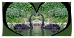 I Chose Love With Black Swans Forming A Heart Bath Towel