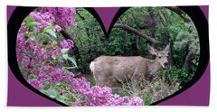 I Chose Love With Deers Among Lilacs In A Heart Bath Towel