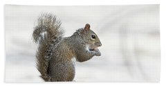 Hand Towel featuring the photograph I Have My Nuts by Deborah Benoit