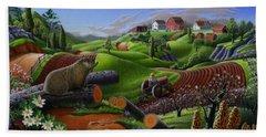 I Love Farm Life T Shirt - Spring Groundhog - Country Farm Landscape 2 Hand Towel