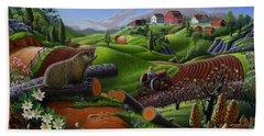 I Love Appalachia T Shirt - Spring Groundhog - Country Farm Landscape Hand Towel
