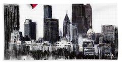 Hand Towel featuring the digital art I Love Atlanta Ga by Sladjana Lazarevic