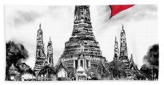 Hand Towel featuring the digital art I Love Bangkok by Sladjana Lazarevic
