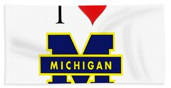 I Love Michigan Bath Towel