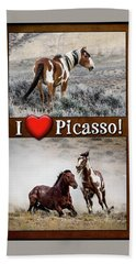 I Love Picasso Collage Hand Towel by Nadja Rider