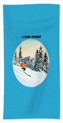 Hand Towel featuring the painting I Love Skiing  by Bill Holkham