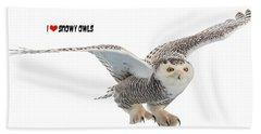 I Love Snowy Owls T-shirt Hand Towel