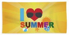 I Love Summer Beach Scene Illustration Hand Towel