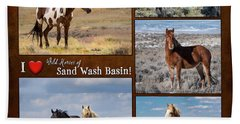 I Love Wild Horses Of Sand Wash Basin Hand Towel