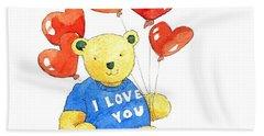 I Love You Bear Bath Towel