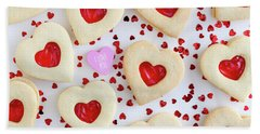 Bath Towel featuring the photograph I Love You Heart Cookies by Teri Virbickis