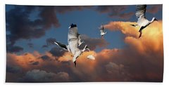 Bath Towel featuring the photograph Ibis In Flight by Irma BACKELANT GALLERIES