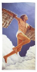Bath Towel featuring the painting Icarus Ascending by Laurie Stewart