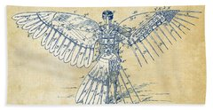 Icarus Human Flight Patent Artwork - Vintage Bath Towel