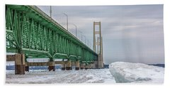 Hand Towel featuring the photograph Ice And Mackinac Bridge  by John McGraw