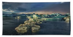 Bath Towel featuring the photograph Ice Chunks by Allen Biedrzycki
