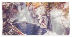 Ice Cold View Of Sages Ravine. Northwest Connecticut Hand Towel