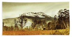 Ice Covered Mountain Panorama In Tasmania Bath Towel