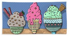 Ice-cream Sundaes Hand Towel by Nina Bradica