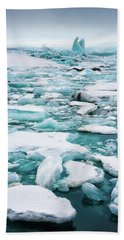 Ice Galore In The Jokulsarlon Glacier Lagoon Iceland Bath Towel by Matthias Hauser