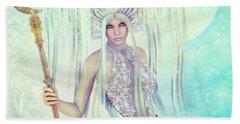 Bath Towel featuring the digital art Ice Moon Princess by Jutta Maria Pusl