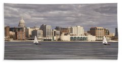 Ice Sailing - Lake Monona - Madison - Wisconsin Bath Towel