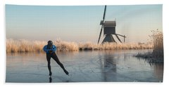 Ice Skating Past Frosted Reeds And A Windmill Hand Towel