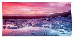 Icebergs In Jokulsarlon Glacial Lagoon Hand Towel by Joe Belanger