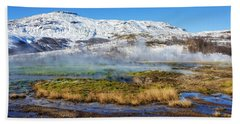 Bath Towel featuring the photograph Iceland Landscape Geothermal Area Haukadalur by Matthias Hauser