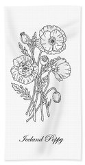 Iceland Poppies Botanical Drawing Black And White Hand Towel